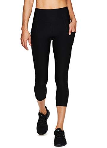RBX Active Women's Tech Pocket Running Yoga Capri Leggings S19 Mix Black L