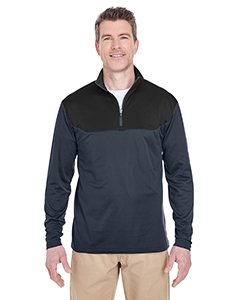 UltraClub Adult Cool & Dry Sport Color Block 1/4-Zip Pullover XL Flint/ Black