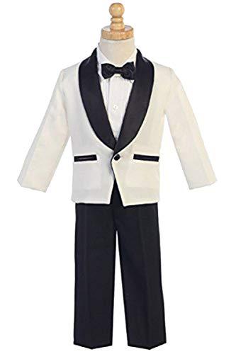 (Lito Childrens Wear Ivory & Black Dinner Jacket w/Pants 4 PC Tuxedo)