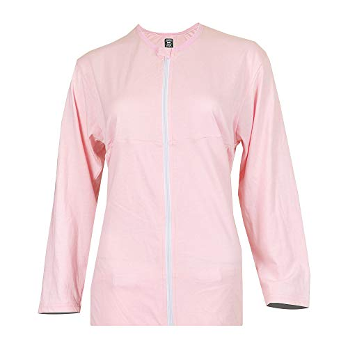 Inspired Comforts Mastectomy Recovery Shirt with Drain Pockets and Fasteners to Hold Drainage Tubes Pink