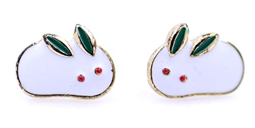 Lizzyoftheflowers - Super cute red crystal eye white enamel bunny rabbit stud earrings