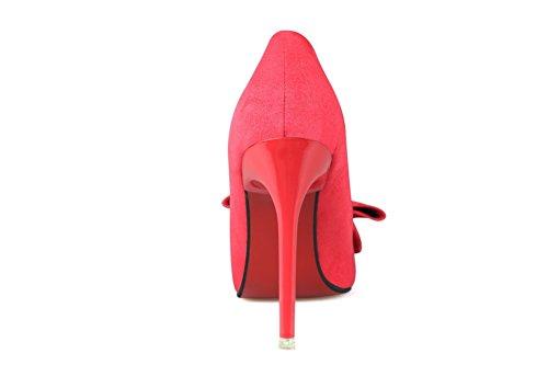 Aalardom Kvinnor Fasta Kick-häl Pekade-tå Pådrag Pumpar-skor Med Bowknot Röd-knot