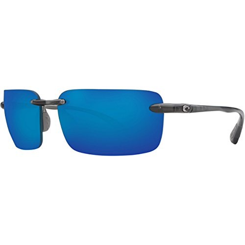 Steel Polarized Gray Mirror - Costa Cayan Polarized Sunglasses - Costa 580 Polycarbonate Lens Thunder Gray/Blue Mirror, One Size - Men's