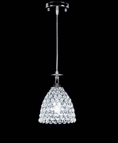 Top Lighting 1-light Chrome Finish Metal Shade Crystal Chandelier Hanging Pendant Ceiling Lamp Fixture (Hanging Ceiling Light From)