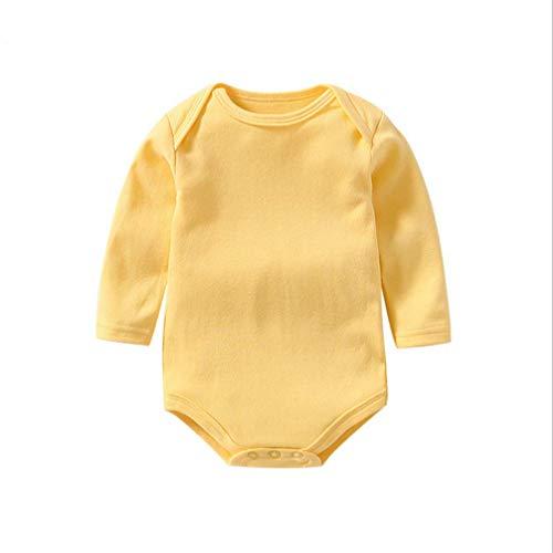 Newborn Infant Baby Boy Girls Outfit Organic Solid Bodysuit Romper Jumpsuit Sunsuit One-Piece Romper Clothes (Light Yellow, 3-6 Months)