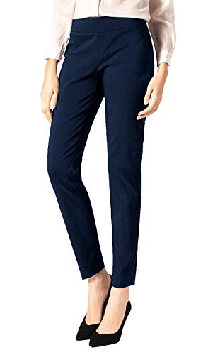 - SATINATO Women's Straight Pants Stretch Slim Skinny Solid Trousers Casual Business Office (12 Regular, Navy-Elasticized Waistband)