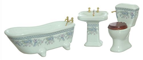 (Dollhouse Miniature 1:12 Scale 3 Piece Bath Set w/ Lavender Floral Designs, AZT5372, Antique Style with Bathtub, Sink and Toilet)