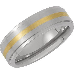 7 mm Titanium and 14k Yellow Gold Beveled Satin Comfort Fit Band Size 10.5 by The Men's Jewelry Store