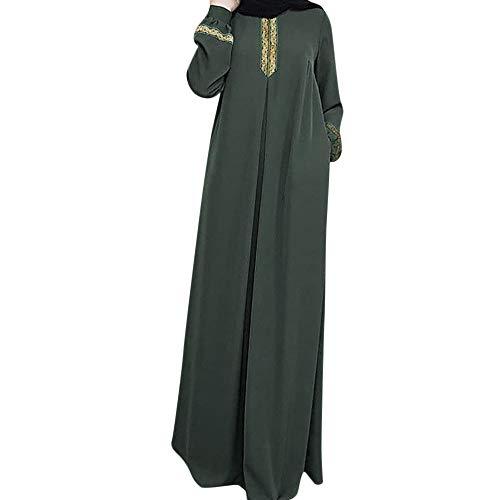 (Women's Muslim Islamic Sequins Embroidered Sheer Lace Maxi Open Abaya Cardigan, Muslim Women's Prayer Dress Pocket-Size Hijab Scarf Skirt Islamic Abaya Green)