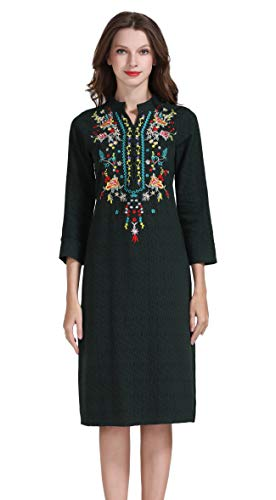 - Shineflow Womens Casual 3/4 Sleeve Floral Embroidered Mexican Peasant Dressy Tops Blouses Shirt Dress Tunic (L, Green)