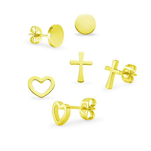 3 Pairs Stainless Steel Heart Round and Cross Stud Earrings Set For Men Women Yellow Gold Tone