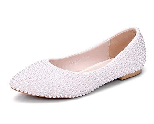 Sposa Sposa comode Matrimonio ZHRUI ZHRUI ZHRUI Dimensione UK Colore flat Ladies Perle 3 Poited Ivory Scarpe da 5 Ivory Perline Flat Toe xqw0wgnrXz