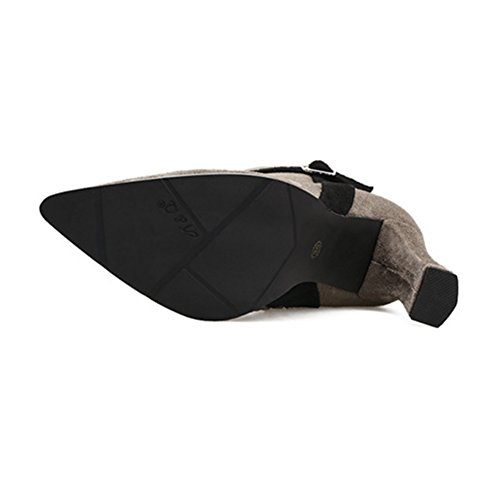 Stiefel Fleece Winter Stiefe Optik Mode 1 Schuhe Warm Ankle Blockabsatz Einfarbig Damen Veloursleder Zipper Boots mit Gefüttert grau 84w6v5qtn
