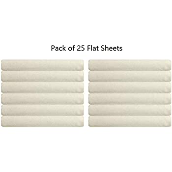 Image of Eless Bedding Flat Hospital and Hotel Bed Sheets Ivory- 400 Thread Count (25-Pack) - Soft-100% Cotton -66' X 104' Home and Kitchen