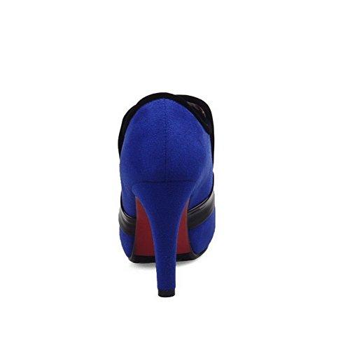 Avec Bleu Rond Haut De Agoolar Talon Nœuds Deux Femme À Boucles Tire Bottes Cheville SnxwzqR