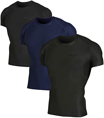DEVOPS Men's 3 Pack Cool Dry Athletic Compression Short Sleeve Baselayer Workout T-Shirts (Medium, ()