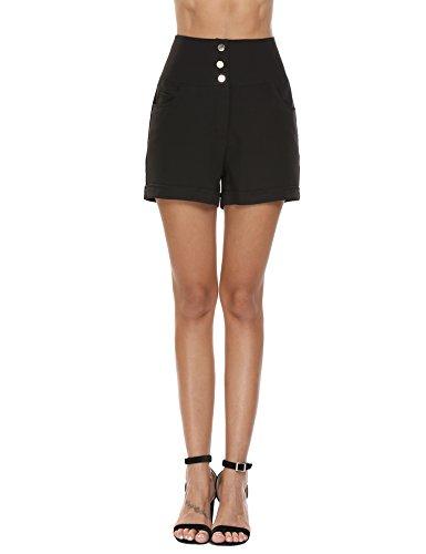 Zeagoo Women's Retro Rockabilly 6-Button High Waist Smock Pant and khaki Short, Black 3 Button, Medium - Short Smock