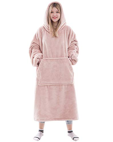 Waitu Wearable Blanket Snuggle Hoody Blanket for Adult and Child, Super Warm and Cozy Blanket Hoodie for Women and Men, Fleece Blanket with Sleeves and Giant Pocket - Pink/XL