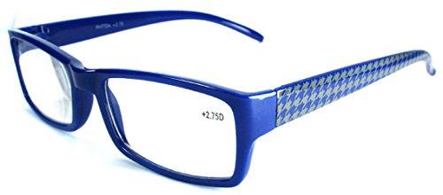 The Chloe Vintage Houndstooth Full Frame Reading Glasses, Full Rim Rectangular Readers For Women +1.50 Blue (Microfiber Pouch - Vintage Chloe