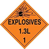 Accuform Signs MPL126VP100 Plastic Hazard Class 1/Division 3L DOT Placard, Legend ''EXPLOSIVES 1.3L 1'' with Graphic, 10-3/4'' Width x 10-3/4'' Length, Black on Orange (Pack of 100)