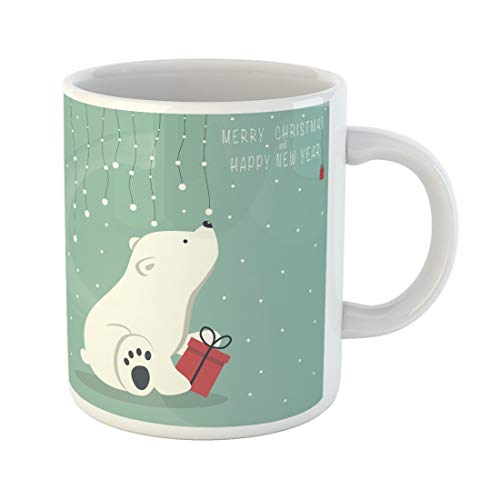 (Tarolo 11 Oz Mug Coffee Mug Ceramic Tea Cup the Depicts Seated Little Polar Bear Box Garland of Snow Balls Over and Phrase Merry Christmas Happy New Year Large C-handle Family and Office Gift)