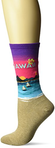 Hot Sox Women's Travel Series Novelty Fashion Crew, Hawaii (Purple), Shoe Size: 4-10