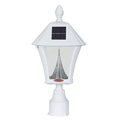 Baytown Solar Outdoor White Post Light with Warm-White LEDs and 3 in. Fitter Mount by Gama Sonic