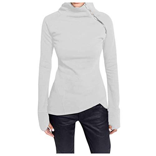 Women Casual Solid Sweater Blouse Long Sleeve Pullover Turtleneck Zipper Sweatshirt Tops Slim Fit Outwear WEI MOLO
