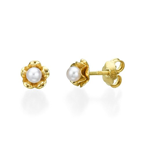 14K Yellow Gold with White Pearl Square Screwback Stud Earrings Girl Teens Jewelry Gift by youme Gold Jewelry