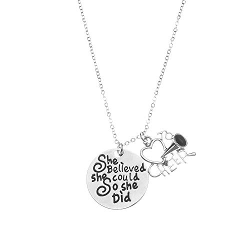 Sportybella Cheer Charm Necklace - Cheer She Believed She Could So She Did Jewelry, for Cheerleaders (Cheerleader Charm Necklace)