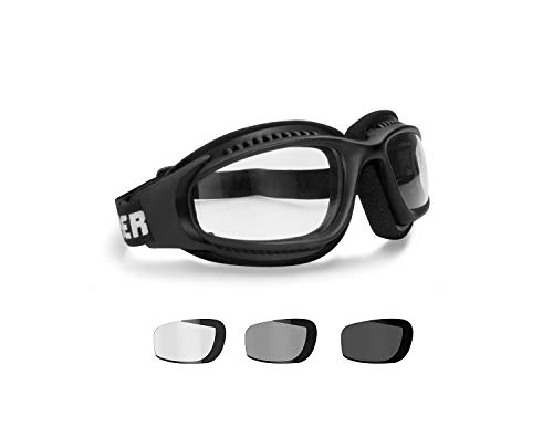 Motorcycle Goggles Photochromic Ventilated Antifog Lens & Adjustable Strap with Outriggers - Mat Black frame by Bertoni Italy F113 Photochromic Wraparound Windproof Motorbike Goggles