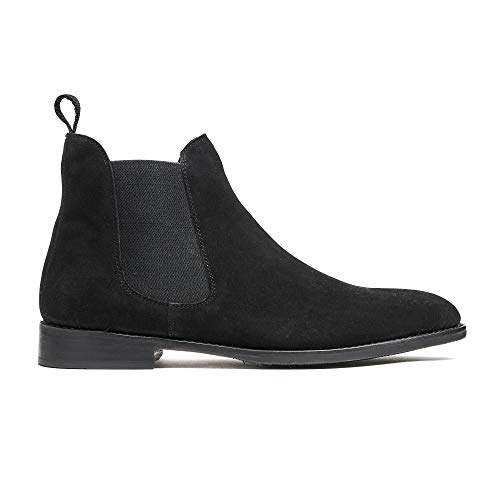 Timberlux New York Black Chelsea Suede Boots, Men Dress Shoes Goodyear Welted