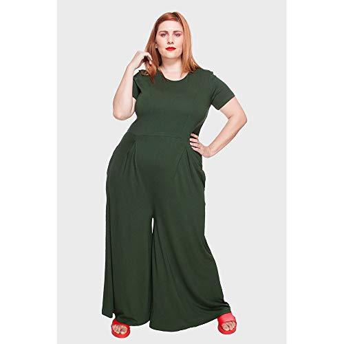 Macacão Pantalona Plus Size Verde Escuro-52/54