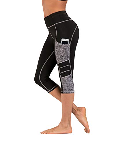 IMIDO Women's Yoga Capri Pants Sport Tights Workout Running Leggings with Side Pocket (L, Gray Capri - Shorts Mesh Capri
