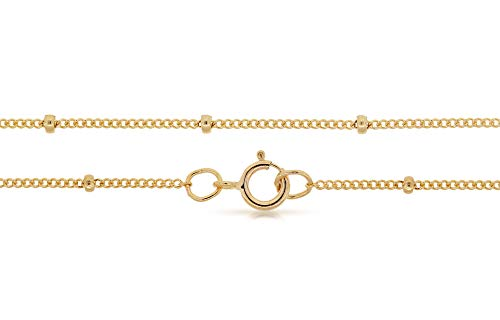 BeadHobby's Satellite Chain with Spring Ring, 14k Gold Filled, Curb, 1mm 16 Inch. Sold as - 1 Piece Per Pack - [1-7-9-10-A]