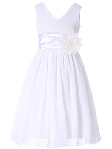 - Bow Dream Flower Girl Dress Junior Bridesmaids V-Neckline Chiffon White 3