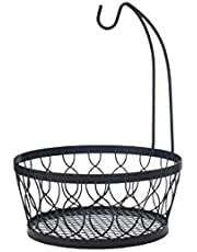 Pfaltzgraff Rustic Farmhouse Wire Fruit Basket with Banana Hook, 11-Inch, Antique Black