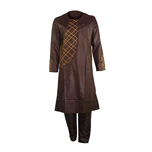 African Caftan - African Embroidery Clothing Dashiki Kaftan Long Pants Men Clothes Sets Brown 3XL
