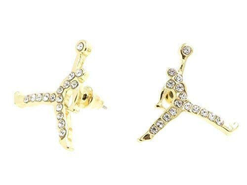 Jordan Basketball Gold Tone Iced Out CZ Stud Hip Hop Bling Earrings