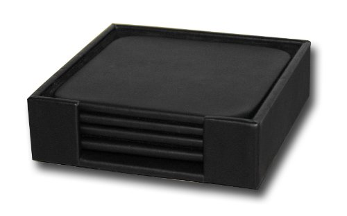 Dacasso Black Leather 4-Square Coaster (Leather 4 Coaster Set)