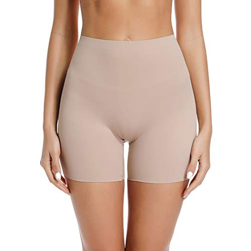 Slip Shorts for Under Dresses Women Elastic Anti Chafing Thigh Bands Underwear Lace Panty (Beige-Light Control, XL)