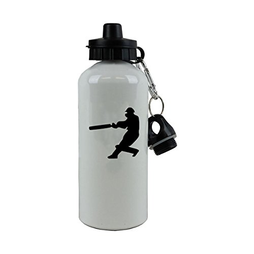 Personalized Custom Hitting Cricket Player Aluminum White Finish 20 Ounce 600ML Sport Water Bottle Customizable by CustomGiftsNow