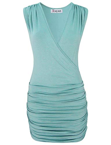 (TAM WARE Womens' Stylish Vneck Sleeveless Cocktail Bodycon Mini DressTWCWD081-GREEN-US M)