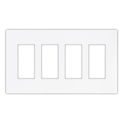 Eaton PJS264W Decorator Screwless Wallplate, 4-Gang, White (White Decorator Gang)