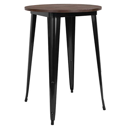 "Taylor + Logan 30"" Round Black Metal Indoor Bar Height Table with Walnut Rustic Wood Top"