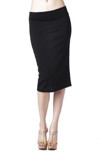 82-9014PT-BLK-XL Women'S Casual To Office Wear Below Knee Pencil Skirt - Black XL by 82 Days (Image #5)