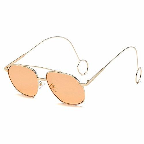 Arete Gafas naranja Marco La Espejo Sol Hoja Personalidad Marco transparente Transparente Metal de dorado de Dorado Plano Mujer Intellectuality T018w