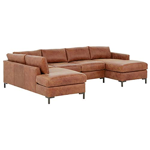 Rivet Edgewest Modern Left-Facing U-Shape Sectional, Leather, 117