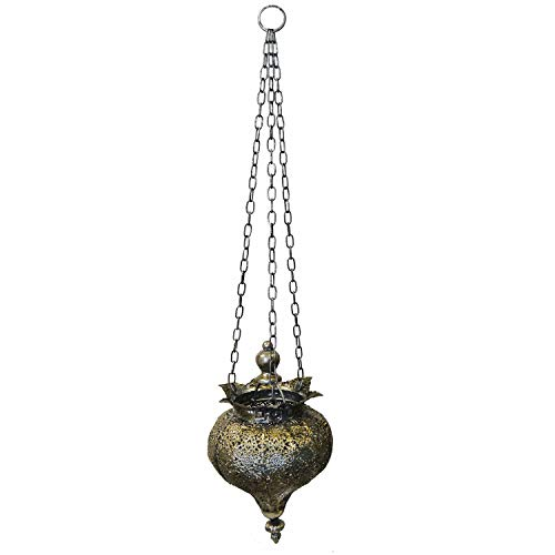 Oriental Lanterns - PierSurplus Antique Silver Oriental Metal Hanging