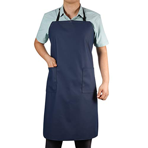 Waterproof Rubber Vinyl Apron with 2 Pockets - Chemical Resistant Work Cloth - Adjustable Bib Butcher Apron - Best for DishWashing, Lab Work, Butcher, Dog Grooming, Cleaning Fish